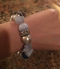 New STEPHEN DWECK STERLING SILVER MIXED STONE & PEARLS STRETCH BRACELET $250