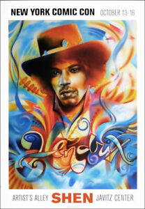 Shen JIMI HENDRIX Psychedelic Signed Poster 20 x 14