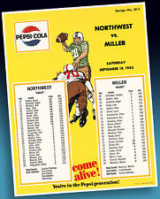 Pepsi Cola Old Football High School Sample Sheet 1965 Xtra Rares Ordermuster