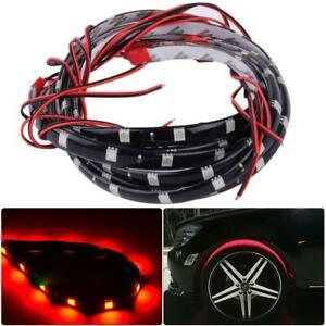 "4pcs 24"" Car Red LED Wheel Neon Glow Flexible Soft Strip Lights Fender Lamps"