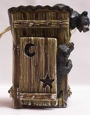 Black Bear Cubs Playing In Outhouse Figurine Home Cabin Lodge Decor (NAA)