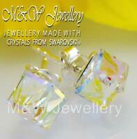 925 Sterling Silver Stud Earrings CUBE 6mm - Crystal AB Crystals From Swarovski®