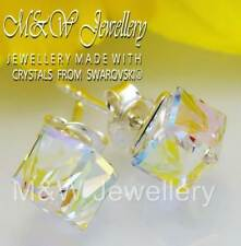 f7a1fc3d1 925 Sterling Silver Earrings Stud 6mm Cube Crystals From Swarovski® Crystal  AB