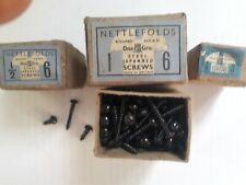 """Black Japanned screws, Vintage 1/2"""" no 3, 10 screws"""