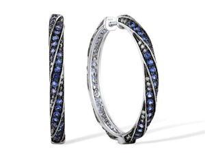 925 Silber Scharnier Creolen mit Blue Spinell und Zirkonia  30mm 1 Paar