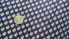 """Vintage Cotton Fabric YELLOW & RED FLORAL ON NAVY BLUE Joan Kessler 1 Yd/44"""""""
