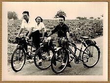 Photo 12 x 9 vintage snapshot vélo bicyclette tandem groupe bike années 50 jp076