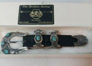 Vintage Harry Morgan Navajo Sterling Silver Terquoise Ranger Belt Buckle / Box
