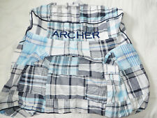 Pottery Barn Kids Navy & Aqua Madras Plaid Anywhere Chair Slipcover *ARCHER*MONO