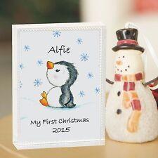 1 ° NATALE PINGUINO vetro ricordo-BABY'S FIRST regalo di Natale