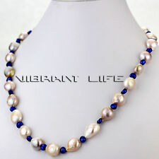 """20"""" 4-11mm Navy Lavender Baroque Mother of Freshwater Pearl Necklace U"""