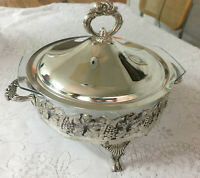 Beautiful Covered Silver Plated Round Casserole Dish with 2 Qt Glass Dish
