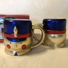 Cook's Bazaar 2 Ceramic Toy Soldier Mugs The Holiday Collection, Gold Red Blue