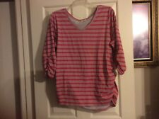 Melrose Chic Woman 2X coral stripe cotton poly V neck stirred at waist & slv top