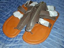 76fa9cb20 Cynthia Vincent Brown Leather Flat Gladiator Thong Sandals Zipper Strappy  SZ 6.5