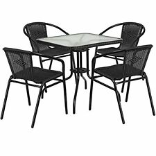 28inch Square Glass Metal Table with Black Rattan Edging