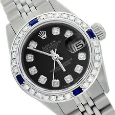 Rolex Lady Datejust 6917 Steel 26mm Black with Diamond Dial Sapphire Bezel