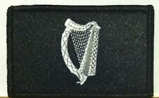 IRISH Ireland FLAG Patch Iron-On B & W Version Military Tactical Black Border #3