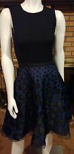 Halston Heritage Black & Blue Polka Dot Fit & Flare Sleeveless Party Dress NWT 4