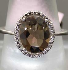 2.40CT OVAL-SHAPE SMOKY TOPAZ & DIAMOND HALO 10K GOLD SOLITAIRE ENGAGEMENT RING