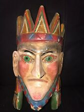 HAND CARVED KING WOOD MASK CARNIVAL DECO