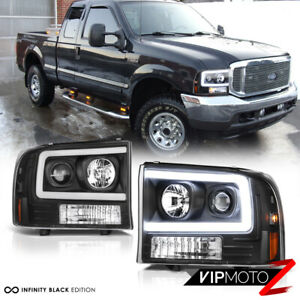 For 99-04 Ford F250 F350 SuperDuty [Neon Tube LED DRL] Black Projector Headlight
