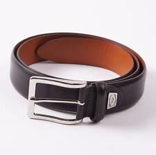 New $295 SANTONI Dark Chocolate Brown Smooth Calf Leather Dress Belt 44 W
