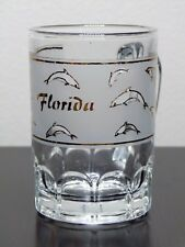Florida With Gold Dolphins Half Frosted Mug Style Shot Glass