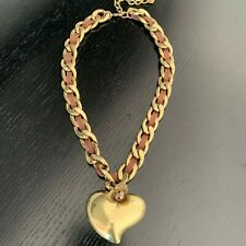 Chunky Heart Necklace Jewellery Pendant in Brown & Gold Antique Colour