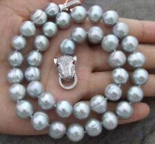 kultiviert 10-11mm graue Süßwasser-Perlenkette 17 zoll + leopard kopf verschluss