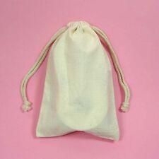 "48 3x4"" Muslin Bags Drawstring Plain Unbleached Natural Cotton Pouches Gift Bags"