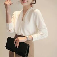 Women Long Sleeve Chiffon Blouse Office Lady Business Solid Shirt V Neck Tops