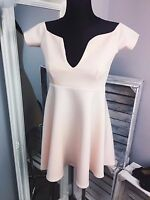 MISSGUIDED skater dress peach size 12 (M23/29)