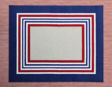 Boarder Rug 8'x10'  Red Stripe Handmade Tufted 100% Wool Boy Style Rug & Carpet