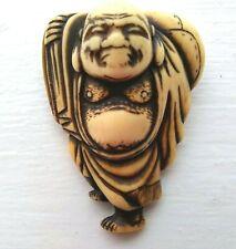 Japanese Netsuke Cow Bone Hotei God of Fortune Edo Period 18th C. 4.8 cm high