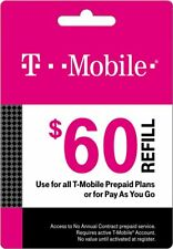 T-Mobile Prepaid $60 Refill Top-Up Prepaid Card / RECHARGE DIRECT