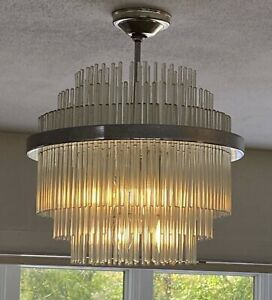 Gaetano Sciolari 6 Light Glass Rod Chandelier Chrome Mid Century Wedding Cake
