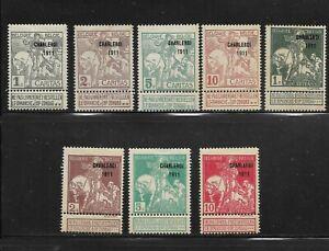 "Belgium Scott #B17-#B24 mint hinged 1911 Semi Postal set ""Charleroi 1911"" ovpt"