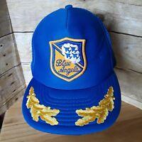 Vintage 80s Blue Angels US Navy Snapback Trucker Hat Jet Airplane Cap