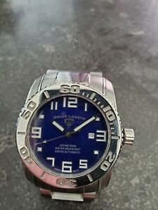 Swiss Legend Commander Automatic Stainless Steel Watch Blue Dial Sapphire
