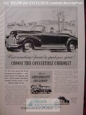 RARE Esquire Advertisement AD CHEVOLET Convertible Cabriolet 1941