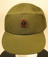US Army Sergeant Major OD Green Fatigue Field Hat Cap Vietnam Era 6 3/4  54