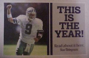 TONY ROMO 9 Dallas Cowboys 2010 Vinyl Poster 17 X 14 Picture