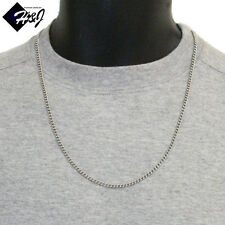 """24""""Men's Women's Stainless Steel 2.5mm Silver Cuban Curb Link Chain Necklace"""