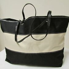 Large Cream and Black Canvas Tote Shopping Beach Bag