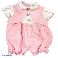 VINTAGE Baby Girl Pink Seersucker Bubble Romper Size 6-9 Months VGUC Bow Eyelet