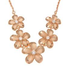 Rosa Chapado En Oro Rosa Plata 925 5 HAWÁI Plumeria Collar con flor grande
