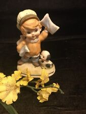 Porcelain Figurine News Boy W/ Dog Lefton #6188
