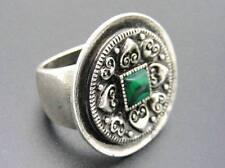 $18 Spring Street Ring Square Green Malachite Silvertone Antique Finish Size 7.5