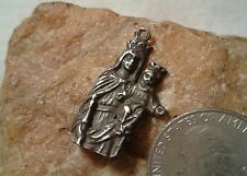 ANTIQUE STERLING SILVER CATHOLIC MEDAL PENDANT BL.VIRGIN MARY HOLY QUEEN JESUS